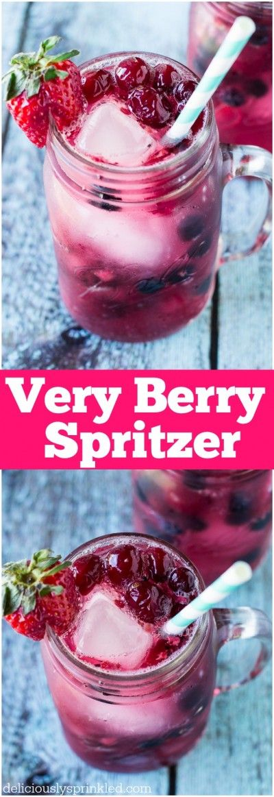 Very Berry Spritzer - a refreshing summer drink the whole family will love! And it's super EASY to make! #drink #summer #berries