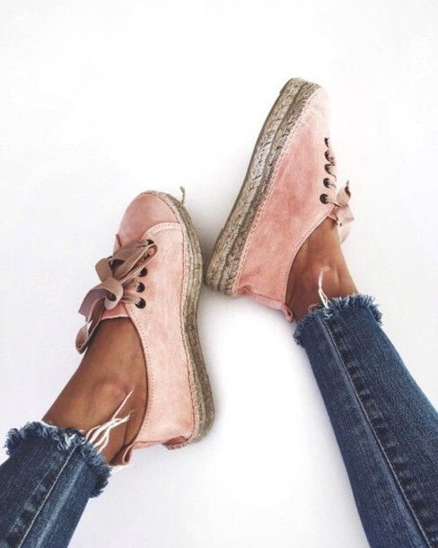 Shoes: sneakers, pastel sneakers, velvet shoes, pink sneakers, pink shoes, sporty chic, athleisure, cropped jeans, frayed denim - Wheretoget
