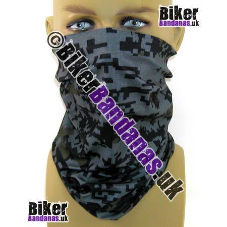 Black Grey and Khaki Pixelated Digital Camouflage Neck Tube  Bandana / Multifunctional Headwear.  One of over 400 Styles for Men and Women
