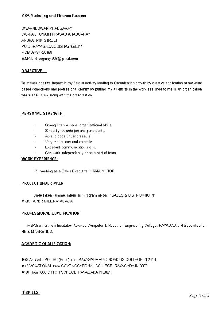 Mba marketing and finance resume how to create a mba