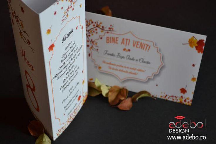 Daca aveti nunta in toamna acestui an, atunci trebuie sa va recomandam acest model de meniu nunta cu tematica de toamna, invitatie nunta tematica de toamna, plic de bani pentru nunta dar si flipchart cu lista invitatilor vostri, absolut toate adaptate la anotimpul frumos, toamna.