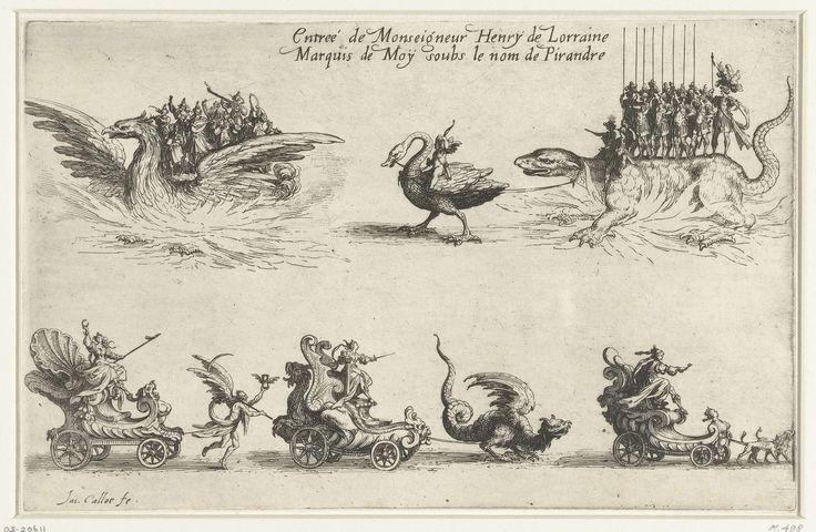 Jacques Callot | Entree van Hendrik van Lotharingen, Jacques Callot, 1627 | Rechts Hendrik van Lotharingen, verkleed als Romeins strijder, staand op een salamander getrokken door een zwaan. Links een groep muzikanten op de rug van een feniks. Daaronder drie triomfwagens, één met de Volharding getrokken door de Tijd, één met de Standvastigheid getrokken door een draak en één met de Trouw getrokken door twee honden. Boven de voorstelling een opschrift in het Frans. Deze prent is onderdeel van…