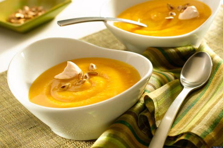 Sopa de zapallo, zanahoria y leche de coco