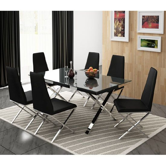 Zara Black Glass Top Diningtable Comes With Chrome Base And 6 Diningchairs It S A Superb