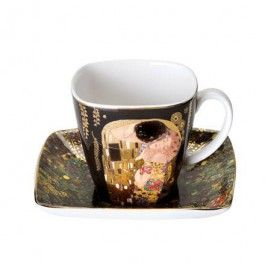 """Goebel - Artis Orbis - Gustav Klimt - The Kiss - Espresso cup (demitasse) - Porcelain demitasse (espresso cup) with gold-plated décor showing """"The Kiss"""" by Gustav Klimt. Dishwasher safe but recommended to wash by hand a mild cleanser to preserve the brilliant colours and gold decor. Height: 6.5 cm. Length: 8.8 cm. Width: 8.8 cm. Content: 0.09 l."""