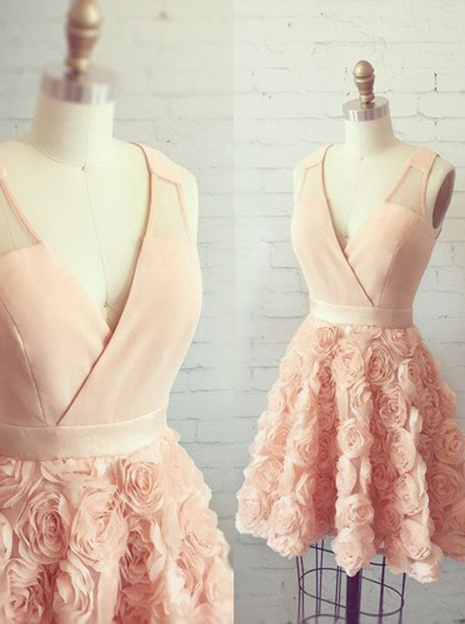 adcafa27be Modern A-Line V-Neck Sleeveless Pearl Pink Short Homecoming Dress With  Appliques by prom dresses