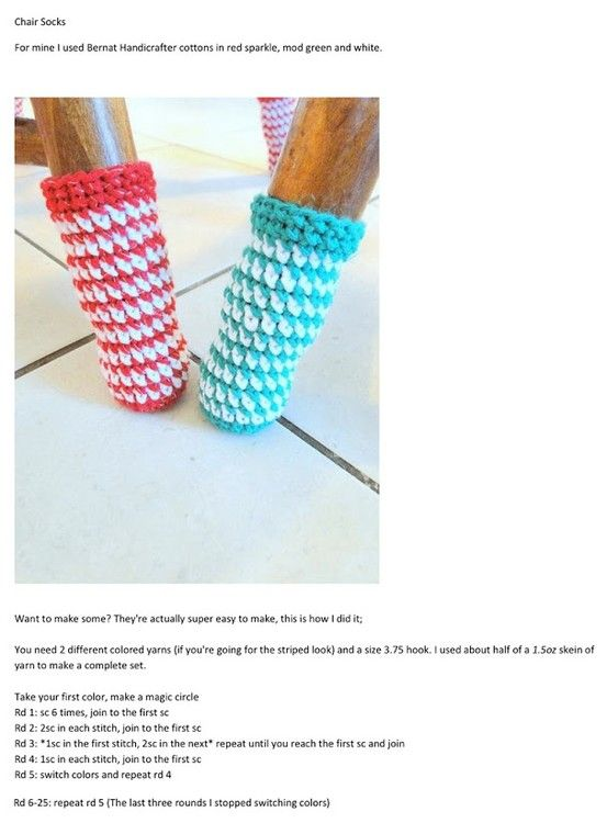 crochet chair socks! Think I might have to make these to stop the scraping noise on the tile floor!