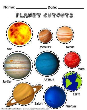 Planet Cutouts | Free Printable Worksheets | Pinterest ...