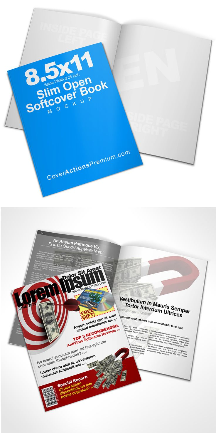 Open Softcover Book Mockup 8 5 X 11 Cover Actions Premium Mockup Psd Template Open Book Books Cover