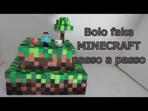 Como fazer bolo fake Minecraft passo a passo - YouTube