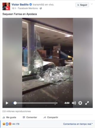 Este ladrón se robó el celular de un periodista que transmitía los saqueos en Monterrey