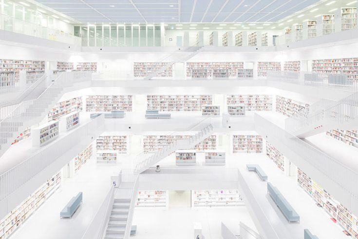 felix lochner captures city library stuttgart devoid of humans - designboom   architecture