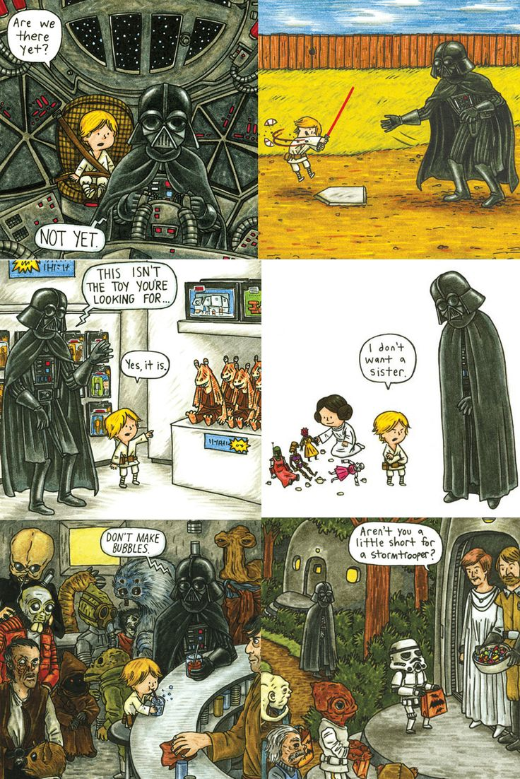 """Jeffery Brown's book, """"Darth Vader and Son,"""" gives us a hilarious look into what fatherhood would have been like for Darth Vader in raising his son, Luke. #starwars"""