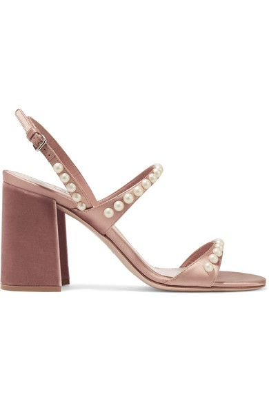 Miu Miu | Faux pearl-embellished satin and velvet sandals | NET-A-PORTER.COM