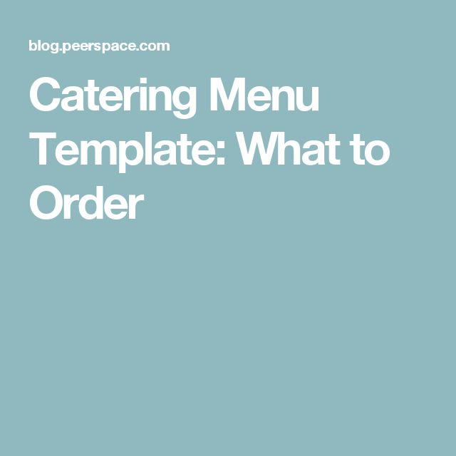 Catering Menu Template: What to Order