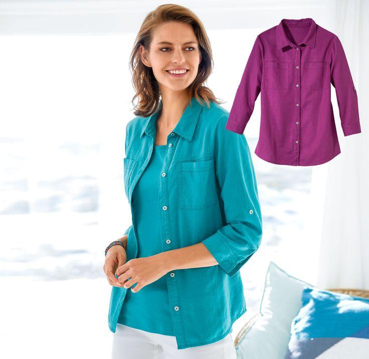 Damen-Leinen-Bluse mit 2 Brusttaschen