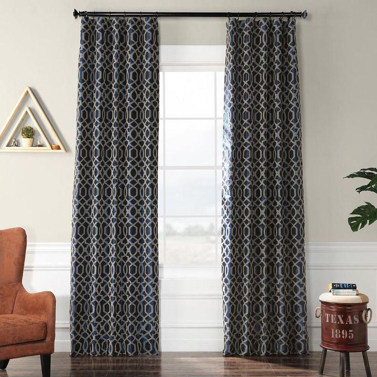 Exclusive Fabrics & Furnishings Filigree Deep Blue and Silver Flocked Faux Silk Curtain – 50 in. W x 96 in. L-PTFFLK-C23C-96
