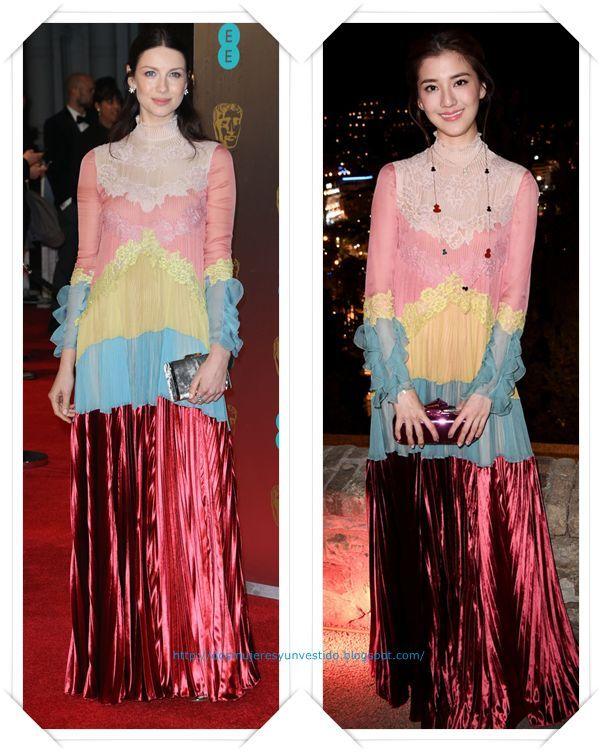 Un vestido de Valentino Alta Costura primavera 2017 se lo vimos primero a Caitriona Balfe en los Bafta; y durante el Festival se lo vimos a Wu Qian.