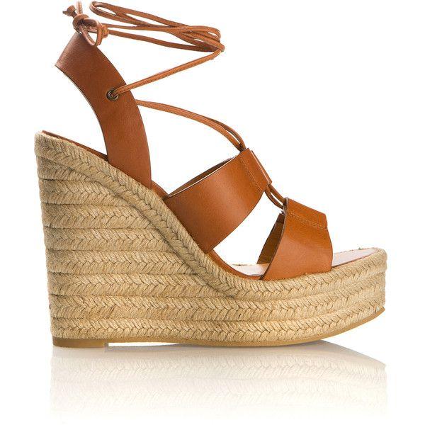 Saint Laurent Cognac Brown Leather Espadrilles Wedges Sandals ($560) ❤ liked on Polyvore featuring shoes, sandals, platform espadrilles, leather sandals, brown high heel sandals, wedge sandals and braided leather sandals