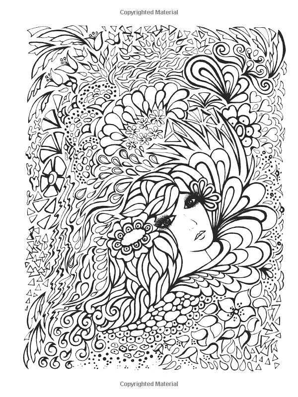Creative Haven Fanciful Faces Coloring Book Coloring for