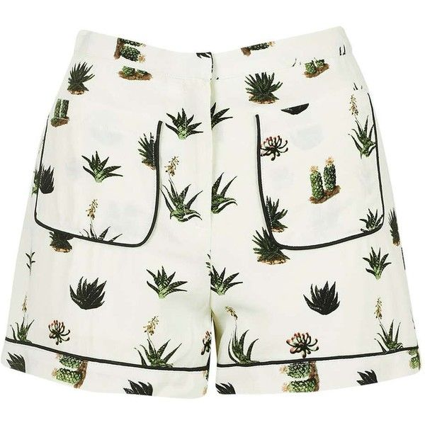 TopShop Petite Cactus Print Pyjama Style Shorts ($47) ❤ liked on Polyvore featuring shorts, topshop, topshop shorts, petite shorts and rayon shorts