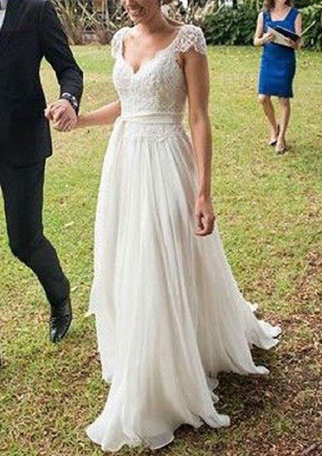 Elegant A-line V-neck Cap Sleeves Appliqued Beaded Sweep Train Lace Ivory Chiffon Beach Wedding Dress