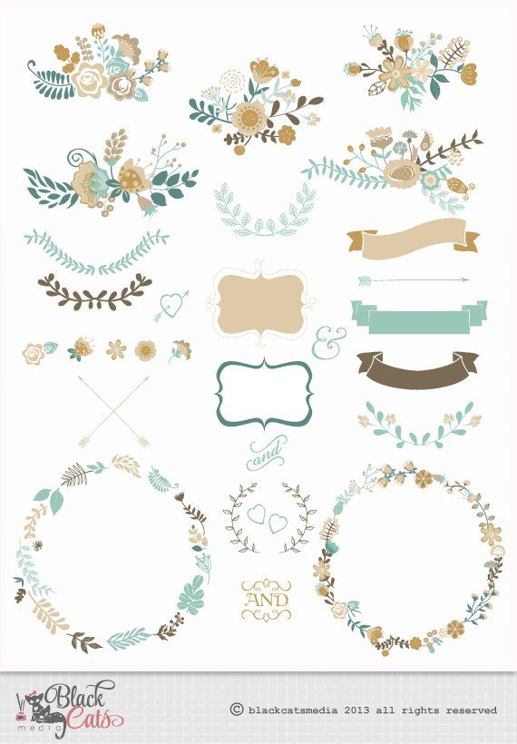 Flor, quadros, laço, digital, Clipart ClipArte  Flower frames and Lace Digital Clipart Ribbons by BlackCatsMedia