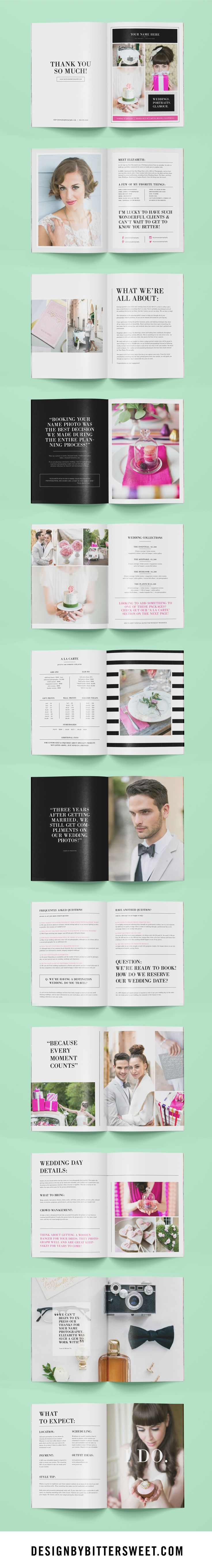 Photography magazine template for wedding photographers, wedding planners, & Photoshop users. Get this 24-page photographer welcome packet with beautiful images by @annelimphoto . This customizable Photoshop template gives your brides & grooms wedding day tips as well helpful information for their engagement & bridal sessions.