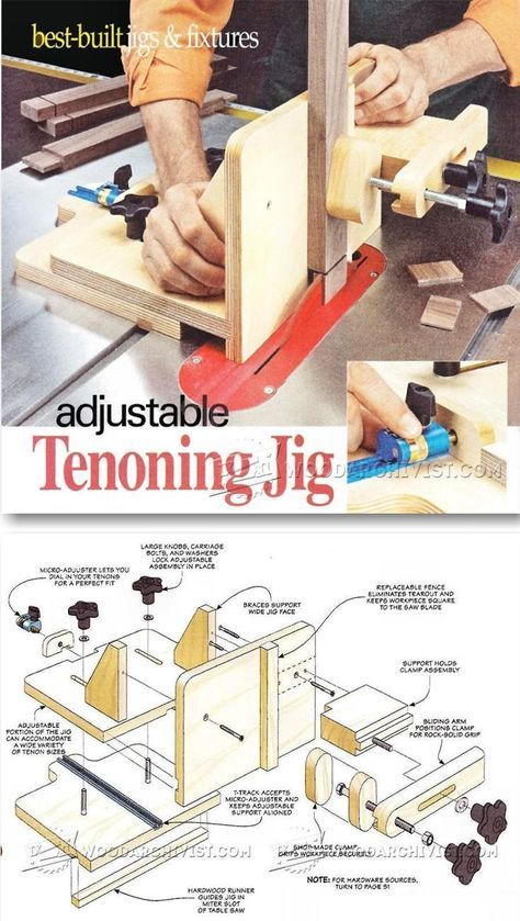 Adjustable Tenoning Jig Plans - Joinery Tips, Jigs and Techniques | WoodArchivist.com