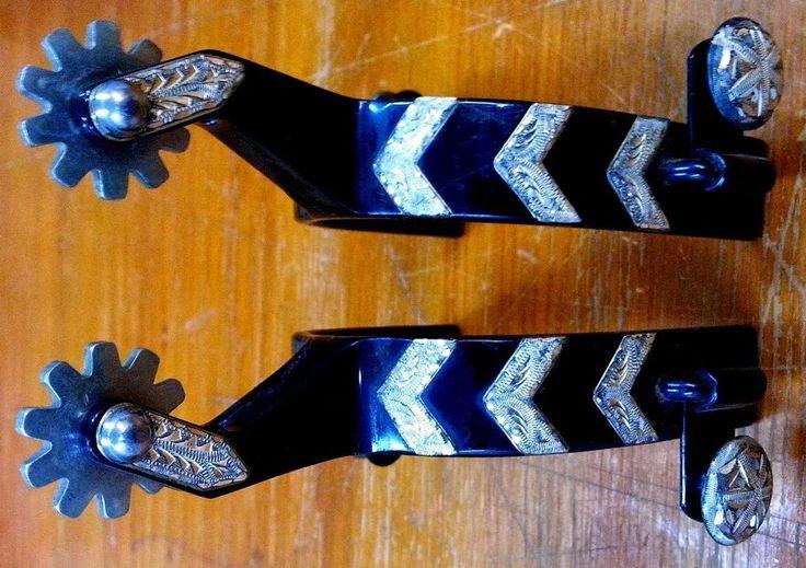 FANTASTIC Old (CR) CROCKETT SOLID STERLING SILVER MOUNTED Dress Spurs MAKE OFFER