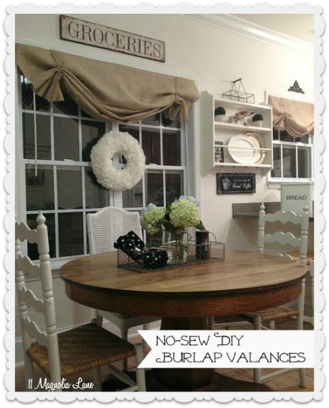 How to Make DIY No-Sew Burlap Window Valances  Plus check out that cute all season wreath in the middle of the window!