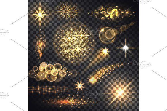 Set Glows Bright Star Light Fireworks by robuart on @creativemarket