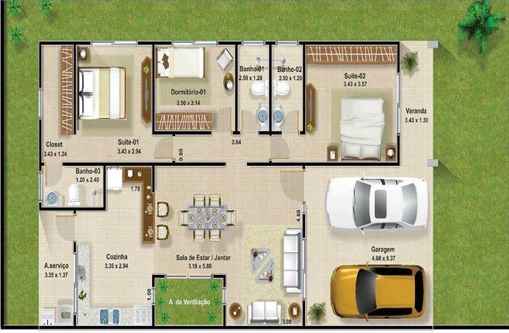 Plantas de casas de tres quartos com area gourmet - Plantas aromaticas en casa ...