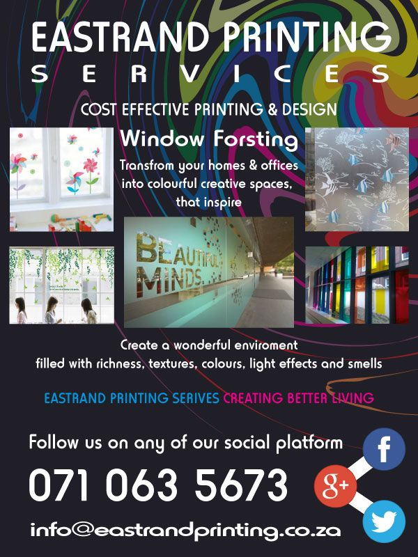 Coloured Window Frosting  Add some colour and style to your home or office windows, with custom decorated window frosting.  Frosting does not have to be plain. With bright colours and warm designs we help transform your view or add some privacy to your personal areas.   For more info please contact us @   071 063 5673  info@eastrandprinting.co.za www.eastrandprinting.co.za  Or Follow us on  google.com/+EastrandprintingCoZa www.pinterest.com/eastrandprint