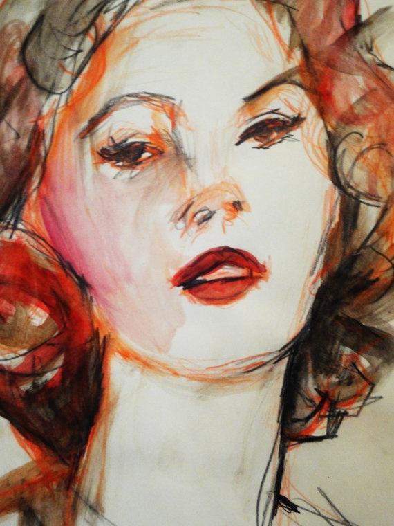 Sofia Lore, by Jenny Belin on Etsy  http://www.etsy.com/listing/79436564/sophia-loren-watercolor-sketch-original