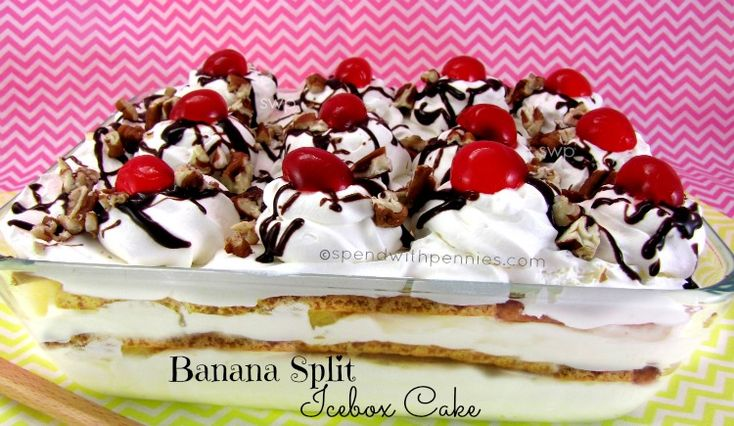 No Bake Banana Split Icebox Cake!  This is not only easy to make, it tastes AMAZING!!!  <3