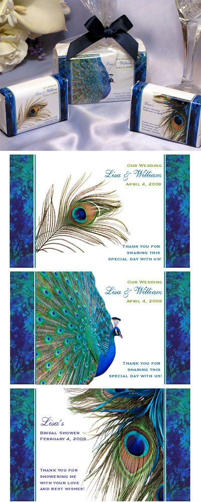 Totally thought of you Lizzie when I was researching wedding soap favors.  I think you like peacocks?  LOL.