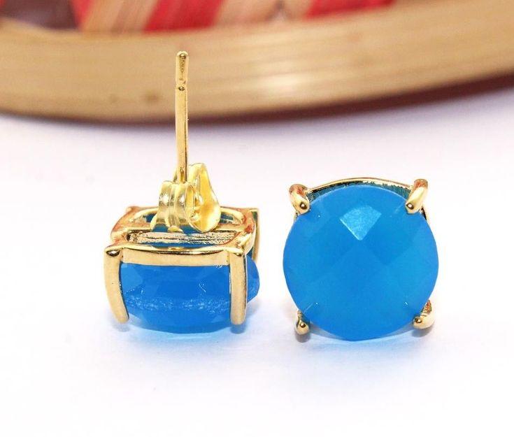 Zj6845 Sale Sky Blue Chalcedony Gold Plated 10mm New Design Stud Earring Jewelry #Handmade #DropDangle