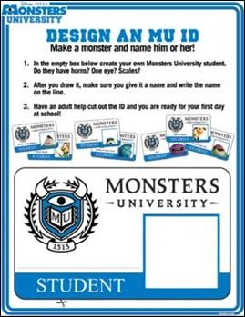 Free Monsters University Activity Sheets #Disney