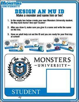 Free Monsters University Activity Sheets #Disney