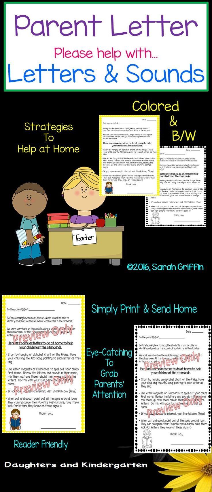 Parent Letter Alphabet Letters And Sounds Parent