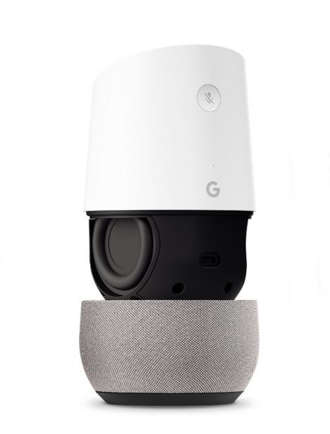 The design of Google Home is white, rounded and minimal, with one concealed button and no switches or screens.