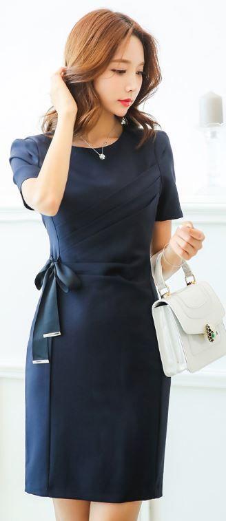 StyleOnme_Ribbon Tie Short Sleeve Fitted Dress #navy #elegant #ribbon #dress…