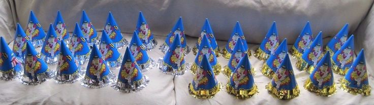 Vintage Circus Clown Happy Birthday Party Paper Cone Hats Blue Lot of 32 Bozo
