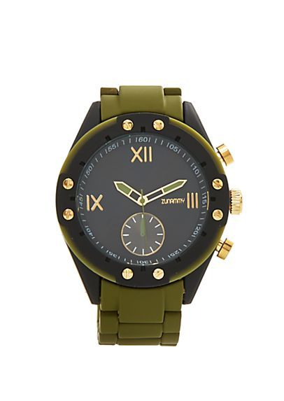 Dark Green Matte 3-Dial Watch | rue21