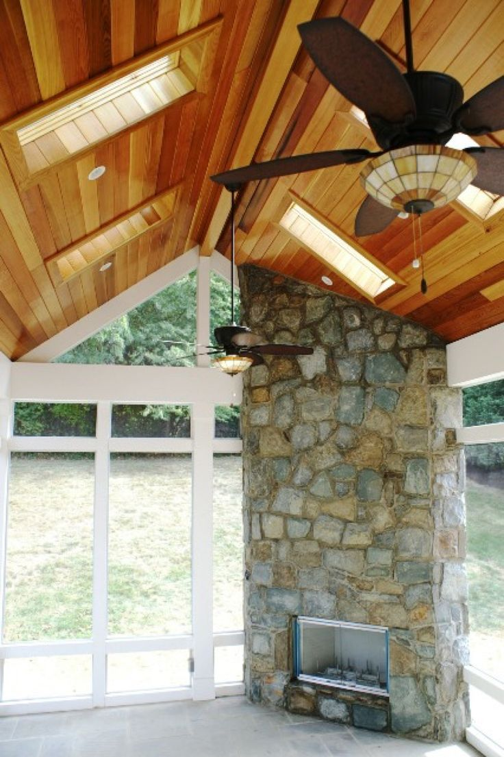 Porch with Cedar Ceiling and Stone Fireplace