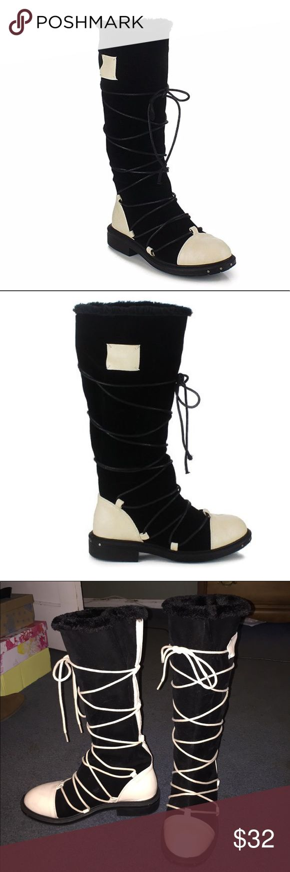 """NWB unique pair of cold weather boots sz 8 NWB never worn unique pair of cold weather boots.  Shown here with cream/ivory laces, but they also look really cool with black as well.  You can use whatever color you're in the mood for!  1st pics have the black.  1"""" heel, 14"""" shaft, 15"""" circumference, faux fur lining. Man made upper, man made sole. Reneeze Shoes Winter & Rain Boots"""