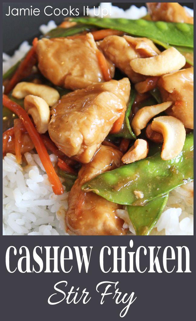 Cashew Chicken Stir Fry from Jamie Cooks It Up! #healthyrecipes, #whatsfordinner, #jamiecooksitup