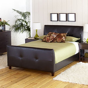 Leather Headboard: Sleigh Styl Headboards, Sleighstyl Headboards, Leather Brown, Modern Styles, Leather Headboards, Queen Beds, Bedframe Leather, Bond Leather, Leather Queen