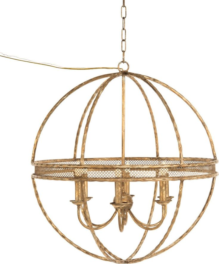 This lovely chandelier features a globe design with a brass frame. The chandelier measures 30